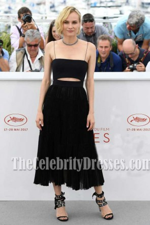 Diane Kruger Black Spaghetti Straps Cut Out Party Dress 2017 Cannes Film Festival