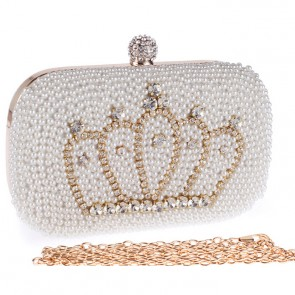 New Fashion Pearl Evening Bag Ladies Diamond Crown Handbags 3
