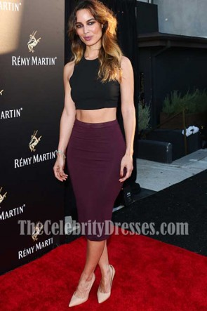 Berenice Marlohe Black And Plum 2 Pieces Cocktail Dress Remy Martin's Special Evening TCD7338
