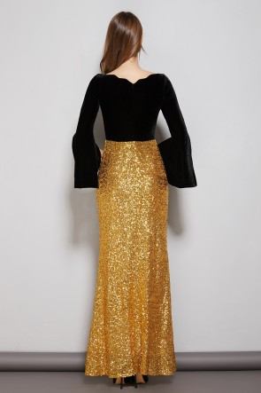 Black And Gold Two Tones Floor Length Prom Dress With Long Sleeves TCDTB8588
