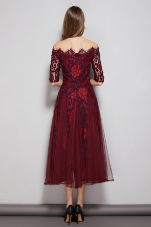 Burgundy A-line Bateau Tulle Lace Dress With 1/2 Sleeves TCDTB8589