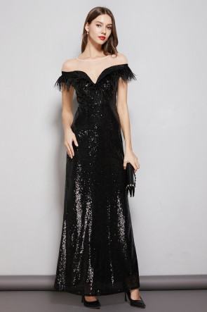Black Sheath Sequins Floor Length Prom Evening Dress