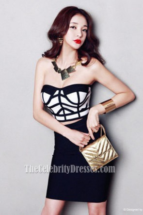 Women's Strapless Bandage Dress Girls Party Two Pieces Suits Dresses TCDTB6217