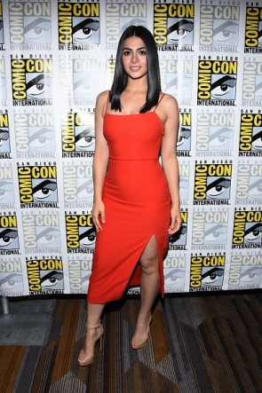 Emeraude Toubia Orange Red Spaghetti Straps High Slit Party Dress Comic-Con International 2017 TCD7411