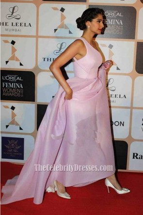 Sonam Kapoor Pink Long One-shoulder Evening Dress Ball Gown L'Oréal Paris Femina Women Awards 2017 TCD7392