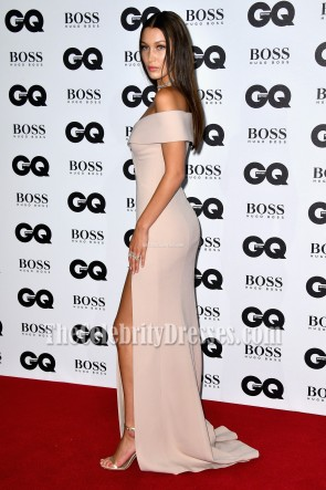 Bella Hadid Sexy Nude Off-shoulder Evening Prom Gown GQ Model of the Year Award TCD6773