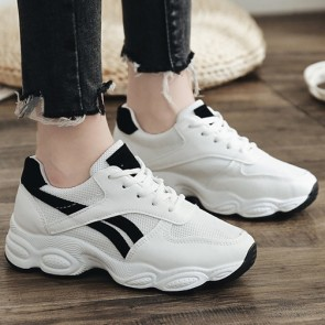 Women's Color-block Mesh With Lace-up Sneakers