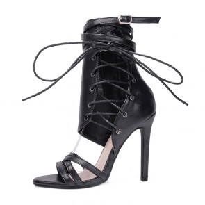 Black Sexy Peep Toe Stiletto With Zipper Shoes For Women