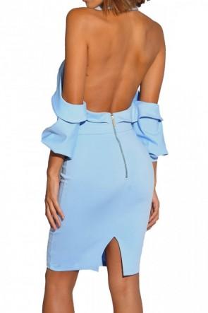 Zip Back Elastic Halter Dress