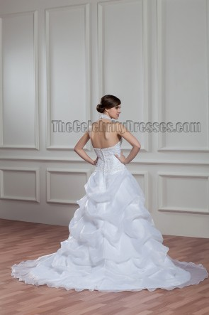 A-Line Chapel Train Halter Beaded Wedding Dresses