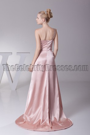 One Shoulder Skin Pink Prom Gown Evening Formal Dress