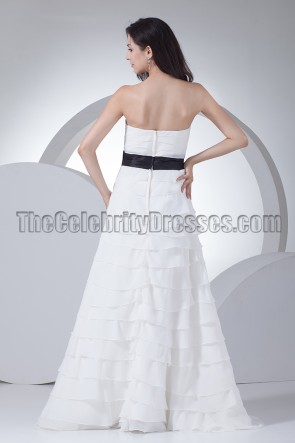 Gorgeous A-Line Strapless Wedding Dresses With A Black Belt