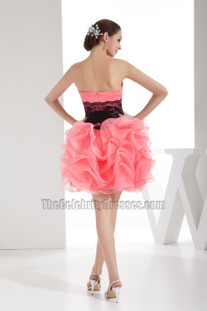 Cute Strapless Organza Short Party Homecoming Dresses