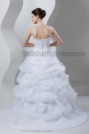 A-Line Strapless Sweetheart Beaded Sweep/Brush Train Wedding Dress