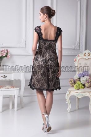 Black Knee Length Lace Cocktail Party Graduation Dresses