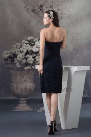 Black Strapless Knee Length Cocktail Graduation Party Dresses