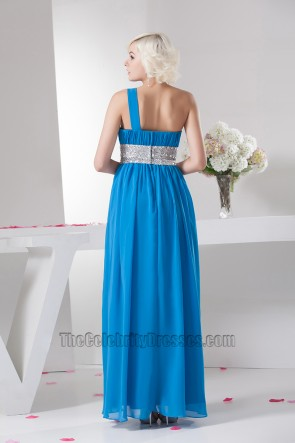 Celebrity Inspired Blue One Shoulder Chiffon Prom Dresses