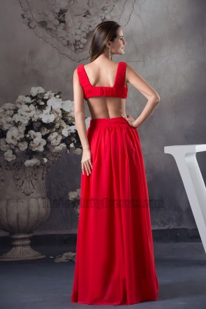 Celebrity Inspired Sexy Red Chiffon Evening Dress Prom Gown
