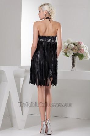 Celebrity Inspired Short Halter Black Party Cocktail Dresses