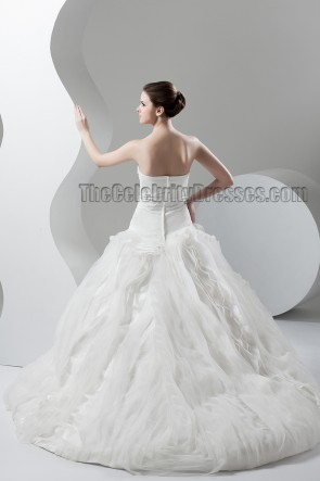 Celebrity Inspired Strapless Chapel Train A-Line Wedding Dresses