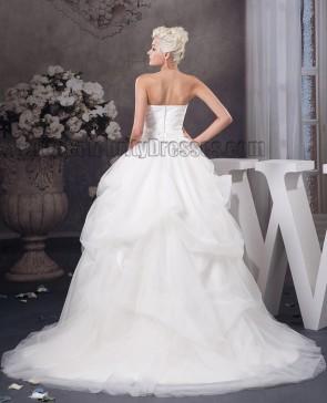 Celebrity Inspired Strapless Sweetheart Ball Gown Wedding Dresses
