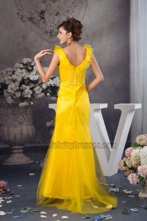 Celebrity Inspired Yellow V-neck Evening Dress Prom Gown