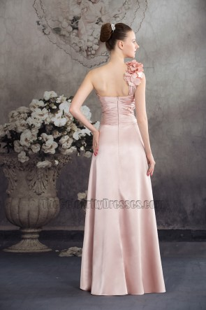 Pearl Pink One Shoulder High Low Prom Gown Evening Dress