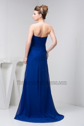 Dark Royal Blue Chiffon Strapless Prom Gown Evening Dresses