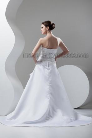 Discount Chapel Train A-Line Strapless Beaded Wedding Dresses