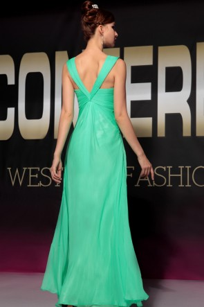Discount Green Floor Length Beaded Bridesmaid Prom Dresses