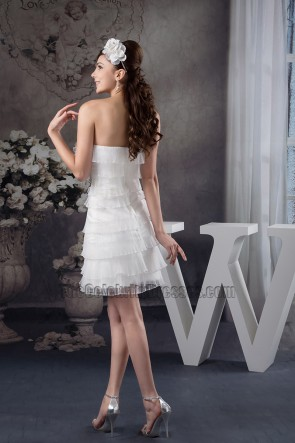 Discount Strapless Organza Ruffles Party Short Wedding Dress