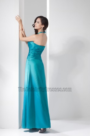 Halter Floor Length Bridesmaid Prom Gown Evening Dress