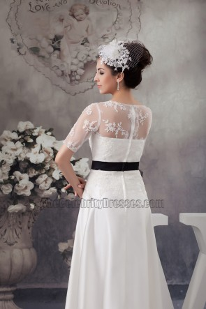 Elegant Satin Lace A-Line Wedding Dress With Black Belt