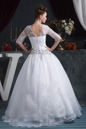 Floor Length Ball Gown V-Neck Lace Wedding Dresses