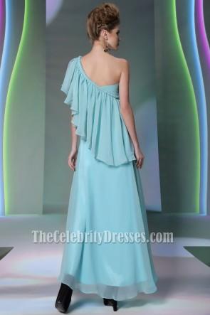 Floor Length Blue One Shoulder Prom Gown Evening Dresses