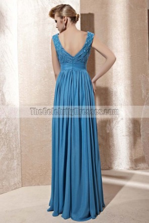 Floor Length Blue V-Neck Chiffon Prom Gown Evening Dresses