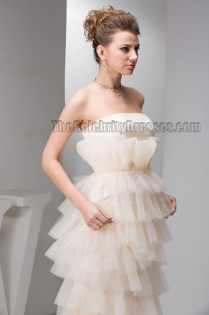 Floor Length Champagne Strapless Bridal Gown Wedding Dress