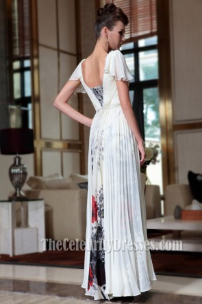 Floor Length Print Cap Sleeve Formal Dress Prom Gown