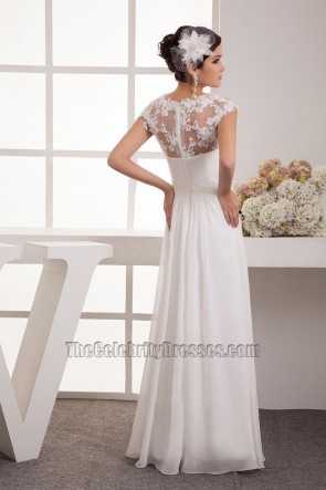 Floor Length Chiffon Lace Cap Sleeve Wedding Dress Bridal Gown