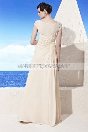 Floor Length Ivory A-Line Formal Dress Prom Evening Gown