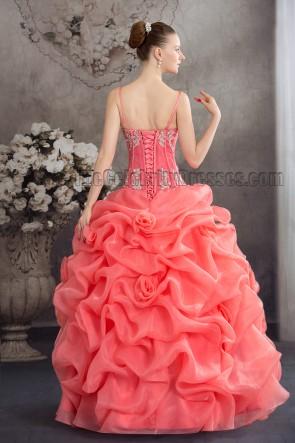 Floor Length Ruffles Watermelon Formal Quinceanera Dresses