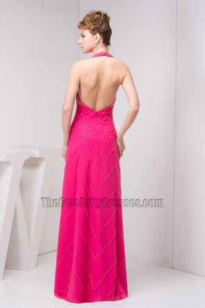 Fuchsia Halter Chiffon Open Back Evening Gown Prom Dress