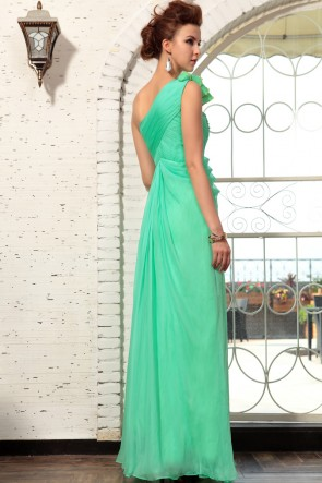 Green Beaded One Shoulder Prom Dress Evening Gown