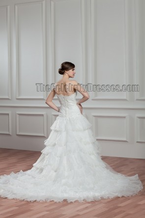 Gorgeous Chapel Train Sweetheart Strapless Wedding Dresses