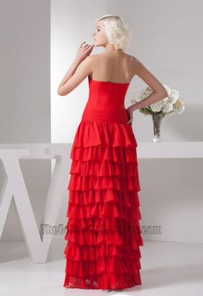 Gorgeous Red Strapless Ruffles Formal Dress Evening Gown