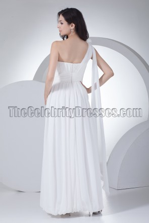 White One Shoulder Prom Gown Evening Dresses