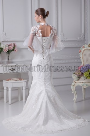 High Neckline Lace Tulle Mermaid Wedding Dresses