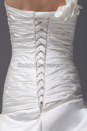 Ivory One Shoulder A-Line Bridal Gown Wedding Dress