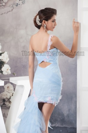 Light Sky Blue One Shoulder High Low Prom Gown Party Dresses