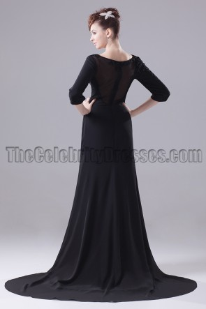 Long Black 3/4 Sleeve Formal Dress Evening Gown